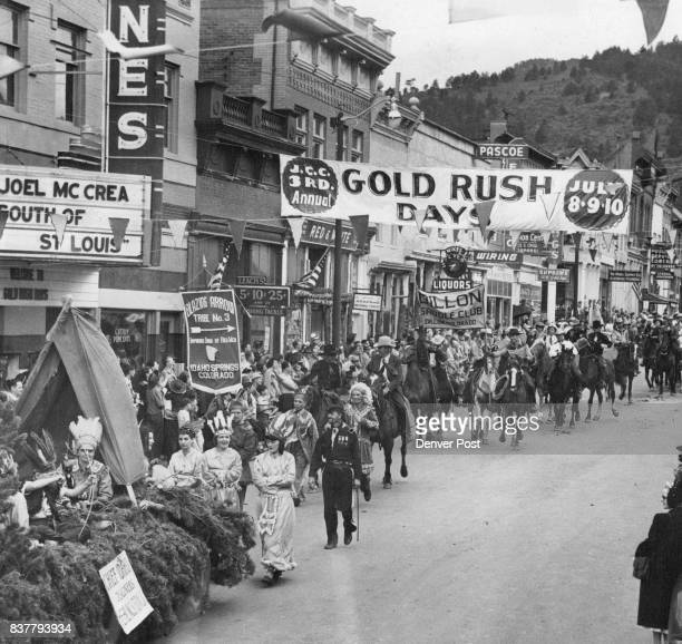 Part of the colorful parade which wound through Idaho Springs Saturday during the Gold Rush days celebration In the foreground is part of the Epsilon...