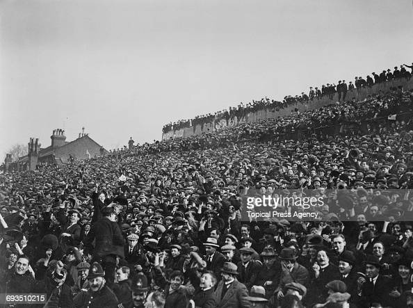Part of the crowd at Spurs' White Hart Lane ground London during Spurs' FA Cup replay against Cardiff City 9th March 1922 Spurs won the match 21