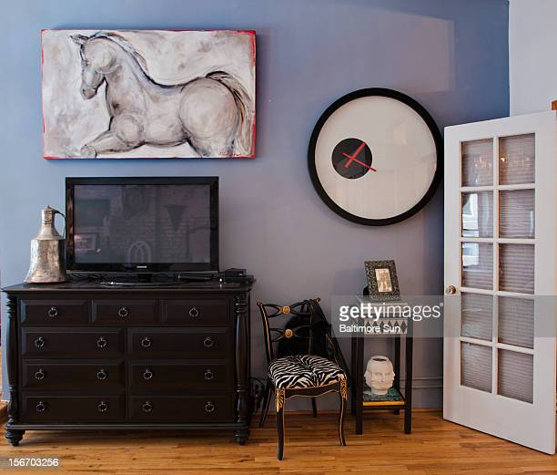 Part of the design on the bedroom wall of Christian Siriano's New York City apartment is featured September 11 2012