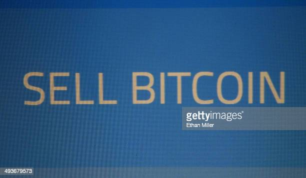 Part of the display screen of a Robocoin ATM that accepts Bitcoin at the D Las Vegas is shown on May 24 2014 in Las Vegas Nevada The machine the...