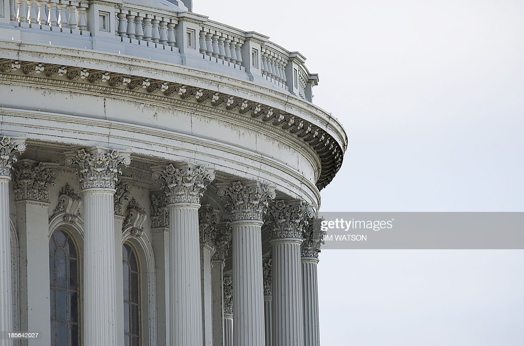 Part of the dome of the US Capitol in Washington, DC, seen October 23, 2013. For the first time since 1959-60, the Capitol dome will be subjected to complete renovations to repair nearly 1,300 cracks and other problems on the cast-iron structure. AFP PHOTO / Jim WATSON