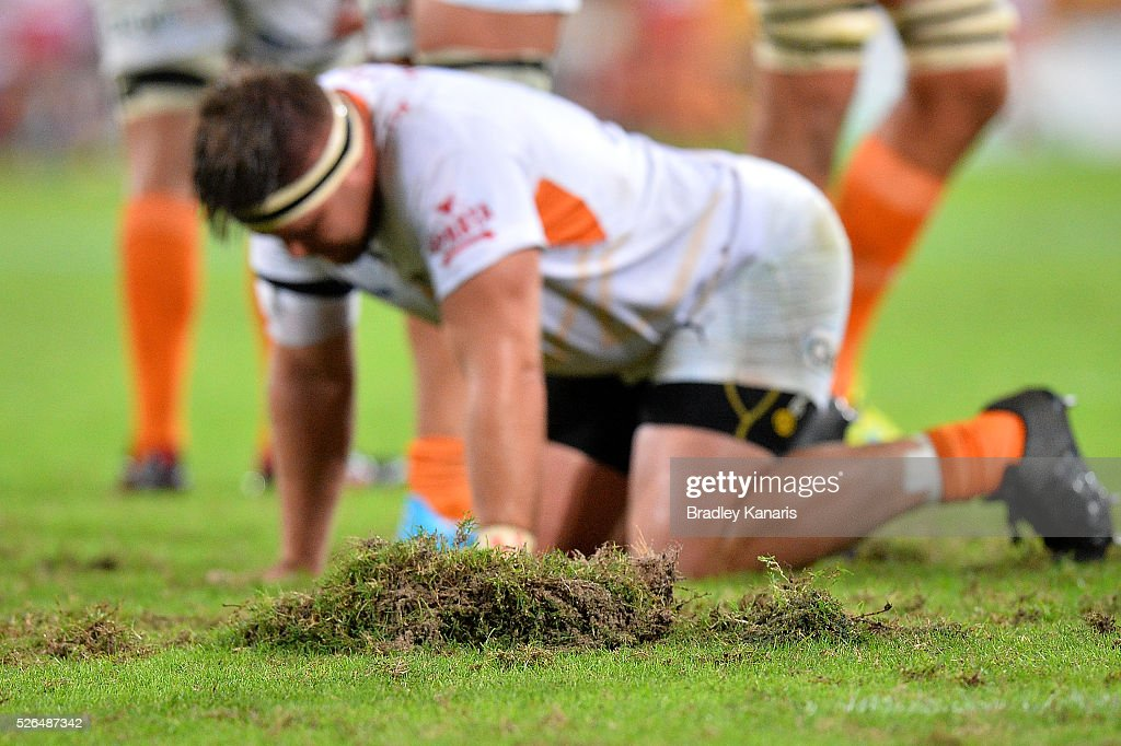 A part of the field is damaged during the round 10 Super Rugby match between the Reds and the Cheetahs at Suncorp Stadium on April 30, 2016 in Brisbane, Australia.