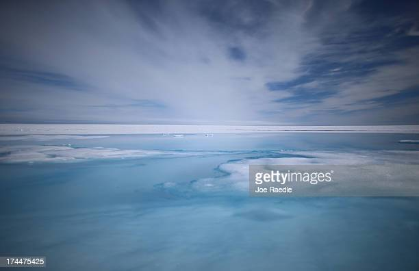 Part of the glacial ice sheet that covers about 80 percent of the country is seen on July 17 2013 on the Glacial Ice Sheet Greenland As the sea...