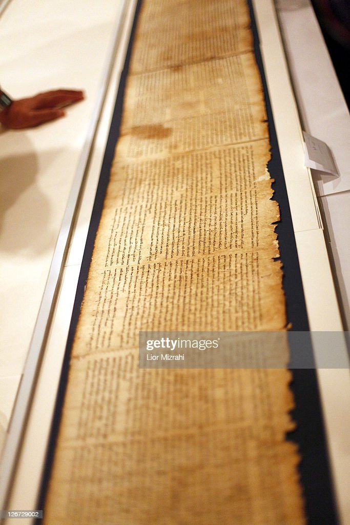 A part of the Isaiah Scroll, one of the Dead Sea Scrolls, is seen inside the vault of the Shrine of the Book building at the Israel Museum on September, 26, 2011. in Jerusalem, Israel. For the first time some of the Dead Sea Scrolls are available online thanks to a partnership between Google and Israel's national museum.