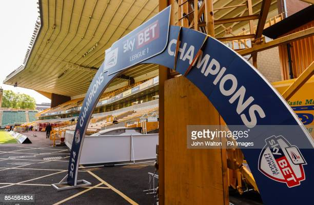 Part of the League 1 Champions branding is left at a corner of the stadium before the League 1 trophy is presented later on ton Wolverhampton...