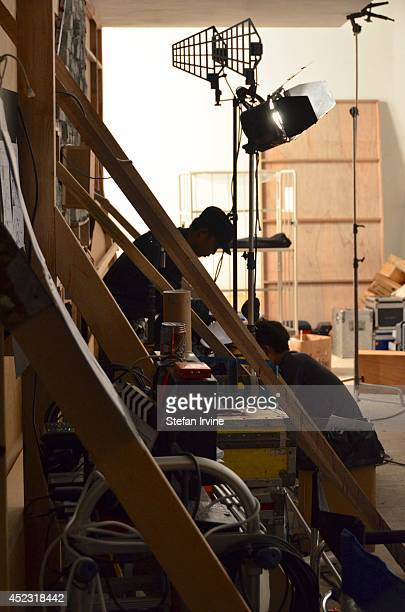 Part of the lighting setup and set construction on the Hong Kong film set of Rigor Mortis a horror film about vampires The film is Juno Mak's...