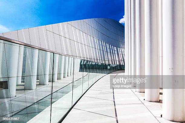 Part of the modern Philharmonie concert hall in Luxembourg city