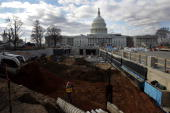 Part of the new entranceway is exposed in the front the of US Capitol during construction of The Capitol Visitor Center December 14 2004 in...