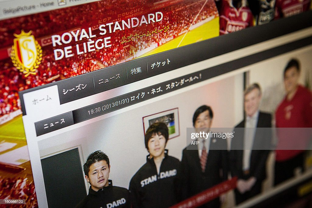 Part of the new Japanese website of Belgian football team Standard de Liege is seen on February 8, 2013 in Brussels. Standard de Liege have a number of Japanese players on their team.