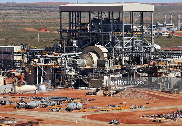 Part of the ore crushing plant is seen at the Telfer Mine in the Pilbara region of Western Australia Thursday July 28 2005 Australian stocks rose led...