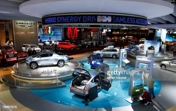 Part of the overall show floor is seen during the press preview days at the North American International Auto show at Cobo Center January 14 2008 in...