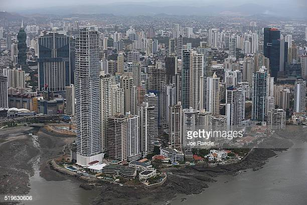 Part of the Panama City skyline is seen as revelations about the law firm Mossack Fonseca Co continue to play out around the world on April 7 2016 in...