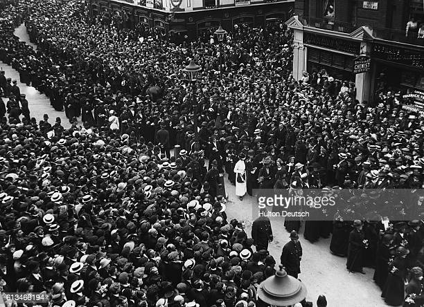 Part of the procession from the funeral of the militant suffragette Emily Davison who died making a protest at the 1913 Epsom Derby when she threw...