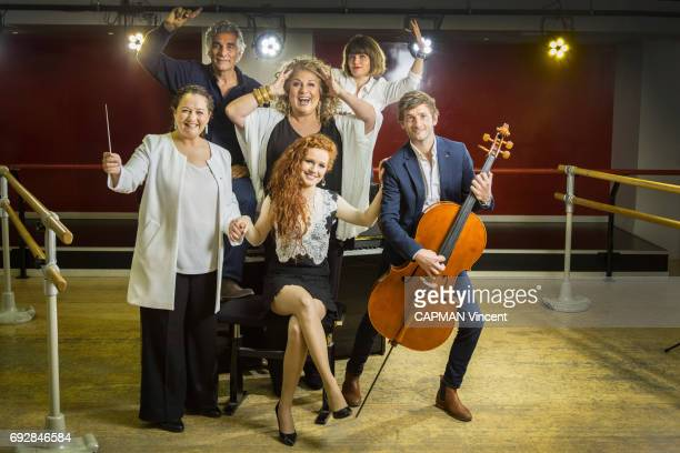 Part of the Prodiges team meeting Paris Match Camille Berthollet Marianne James orchestra conductor Zahia Ziouani coproducer Michel Eli casting...