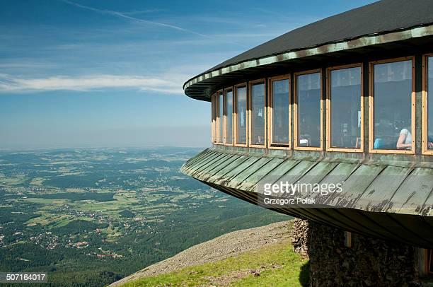 CONTENT] Part of the restaurant on the Sniezka peak the highest peak in the Karkonosze Mountains summer