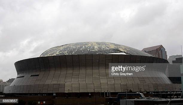 Part of the roof of the Louisiana Superdome has come off in the high winds of Hurricane Katrina which blew through the area early on August 29 2005...