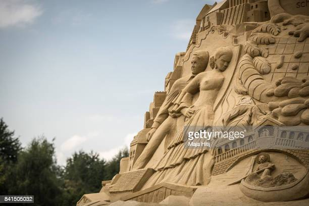 Part of the Sandburg sandcastle is seen on September 1 2017 in Duisburg Germany A local travel agency commissioned the building of the sandcastle and...