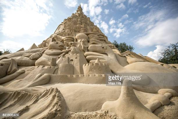 A part of the Sandburg sandcastle is seen on September 1 2017 in Duisburg Germany A local travel agency commissioned the building of the sandcastle...