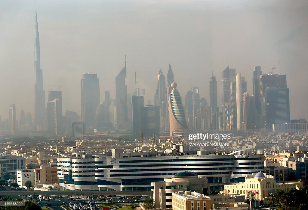 Part of the skyline of the city of Dubai as it appeared in the early hours of the morning from the Dubai Chamber of Commerce and Industry building, on November 20, 2012.