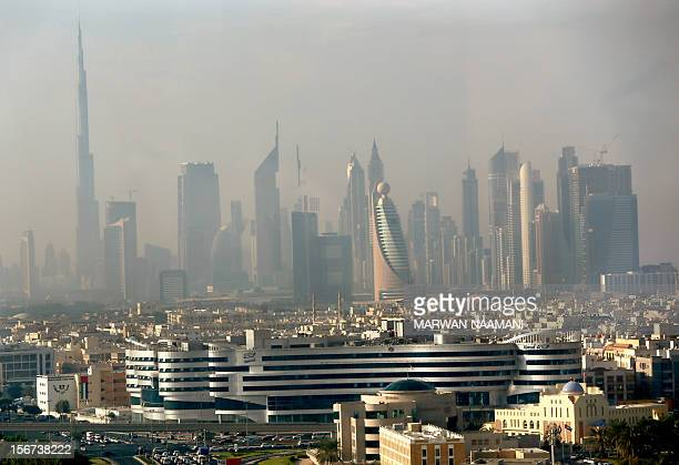 Part of the skyline of the city of Dubai as it appeared in the early hours of the morning from the Dubai Chamber of Commerce and Industry building on...