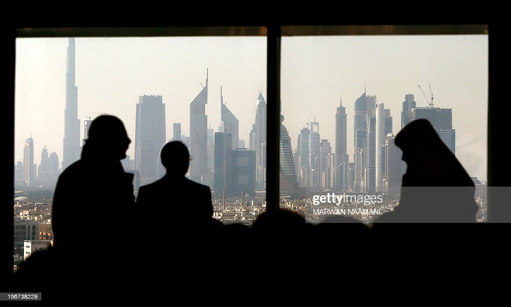 Part of the skyline of the city of Dubai as it appeared in the early hours of the morning from the Dubai Chamber of Commerce and Industry building, on November 20, 2012 where Italian Prime Minister Mario Montio addressed United Arab Emirates and Itlaian businessmen.