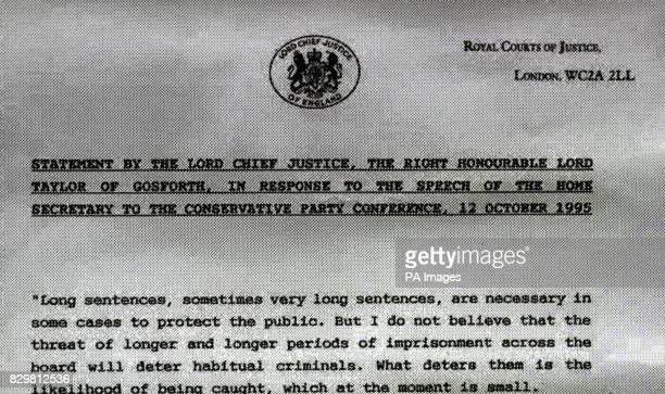 Part of the statement by the Lord Chief Justice the Right Honourable Lord Taylor of Gosforth in response to the speech of the Home Secretary Michael...