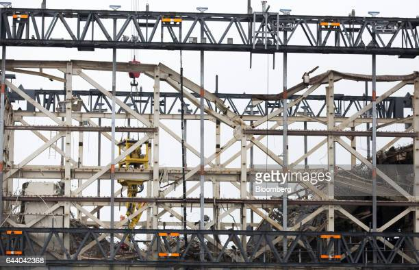 Part of the Unit 1 reactor building structure stands at Tokyo Electric Power Co's Fukushima Daiichi nuclear power plant in Okuma Fukushima Japan on...