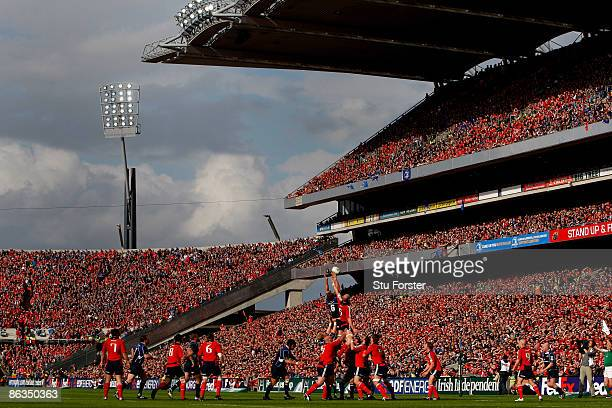 Part of the world record crowd for a club game watch the game during the Heineken Cup Semi Final between Munster and Leinster at Croke Park on May 2...
