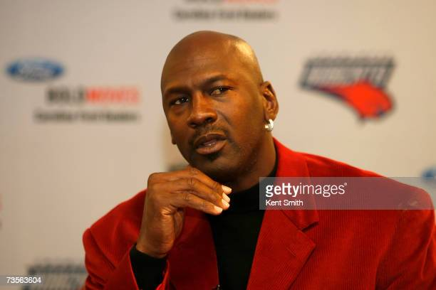 Part owner Michael Jordan of the Charlotte Bobcats answers questions from the media March 13 2007 at the Charlotte Bobcats Arena in Charlotte North...