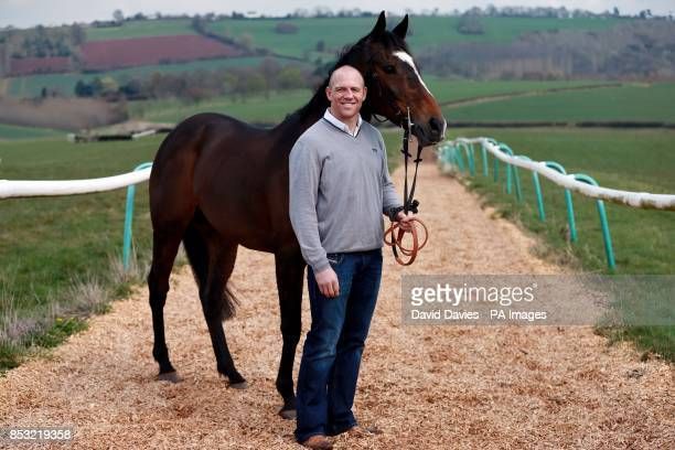 Part Owner Mike Tindall with Monbeg Dude during the stable visit at Eccleswall Court RossonWye