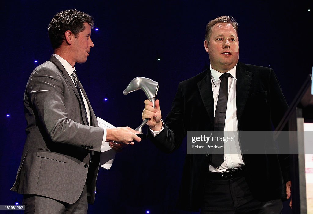 Part owner Nick Williams receives the award for Champion stayer with racehorse Green Moon during the Australian Racehorse of the Year Awards at Peninsula on October 3, 2013 in Melbourne, Australia.