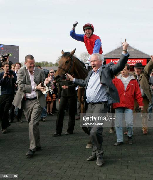 Part owners Ger O'Brien and Sean Deane leading in Paul Townend on Quevega after they had won the Ladbrokescom World Series Hurdle at Punchestown...