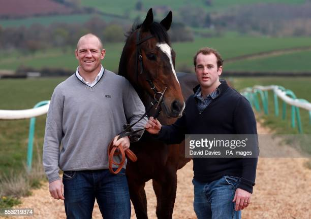 Part Owners Mike Tindall and James SimpsonDaniel with Monbeg Dude during the stable visit at Eccleswall Court RossonWye