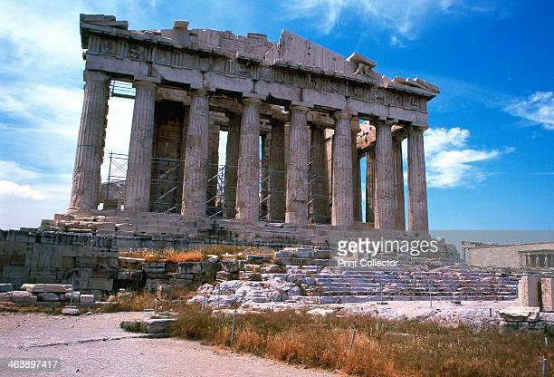 Parthenon on the Acropolis Athens 5th century BC The great temple of Athena the patron goddess of Athens begun in c445 BC It was built at the...