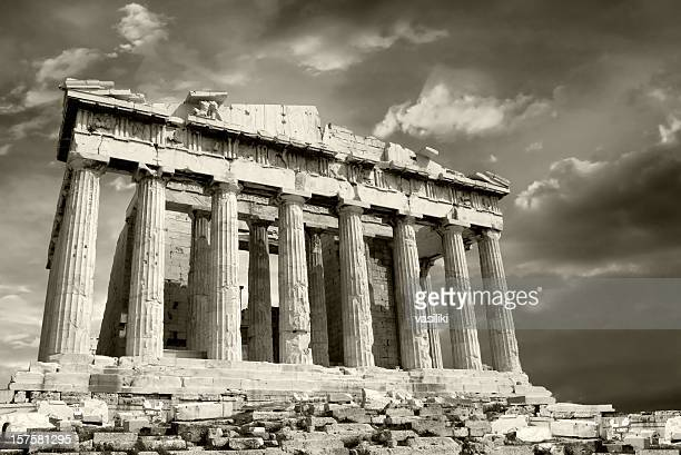 Parthenon with moody sky
