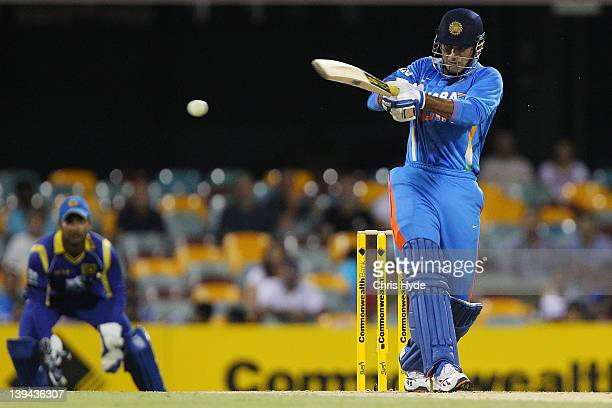Parthiv Patel of India bats during game eight of the One Day International Series between India and Sri Lanka at The Gabba on February 21 2012 in...