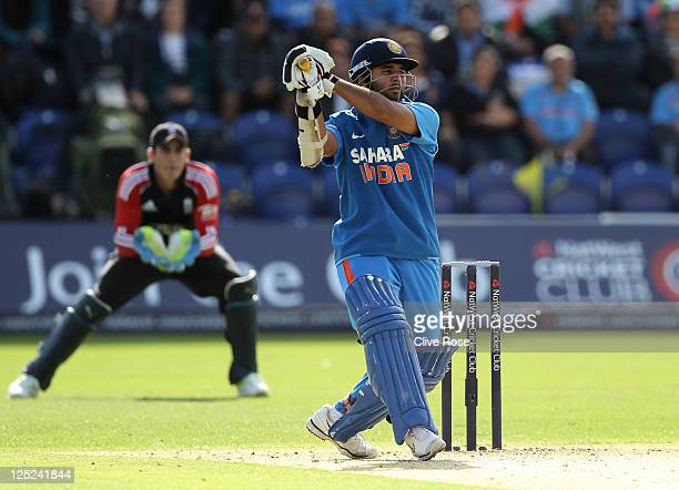 Parthiv Patel of India bats during the 5th Natwest One Day International Series match between England and India at the Swalec Stadium on September 16...