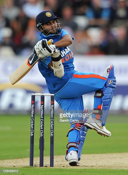 Parthiv Patel of India bats during the NatWest One Day International between England and India at The Riverside on September 3 2011 in...