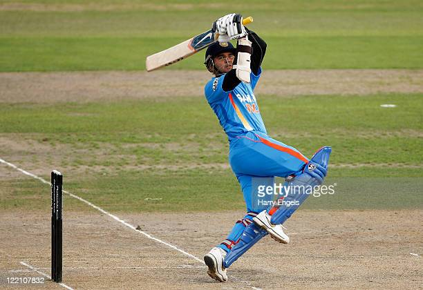 Parthiv Patel of India hits out during the one day tour match between Sussex and India at The County Ground on August 25 2011 in Hove England