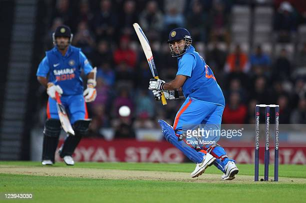 Parthiv Patel of India hits out during the second Natwest One Day International Series match between England and India at The Rose Bowl on September...