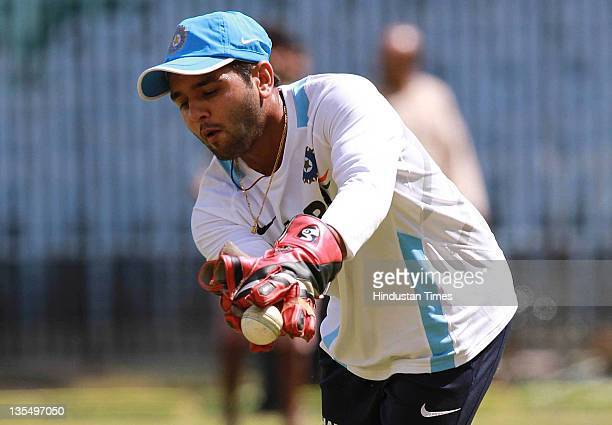 Parthiv Patel of India in action during an India nets session at the TNCA Chepauk stadium on December 10 2011 in Chennai India on December 10 2011