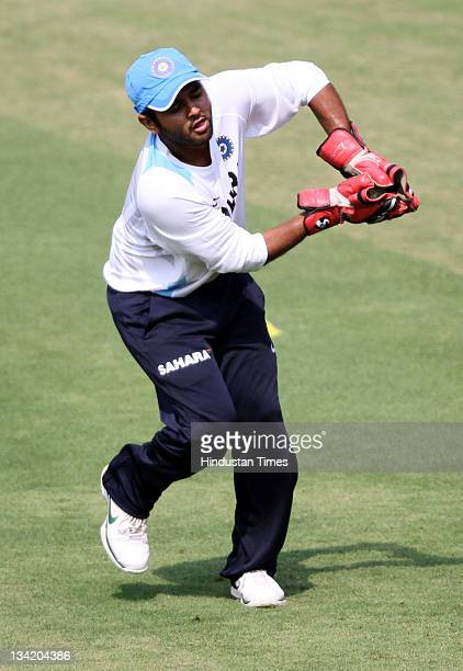 Parthiv Patel of India in action during Indian team's practice session at Barabati Stadium on November 28 2011 in Cuttack India