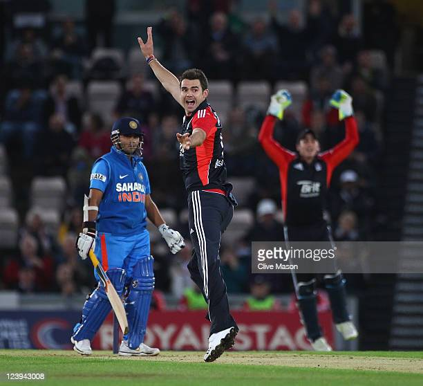 Parthiv Patel of India is dismissed off the bowling of James Anderson of England during the second Natwest One Day International Series match between...