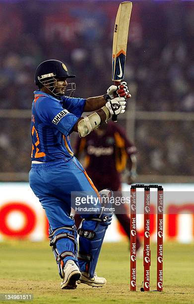 Parthiv Patel of India plays a shot during the 3rd One Day International match between India and West Indies at Sardar Patel Stadium on December 5...