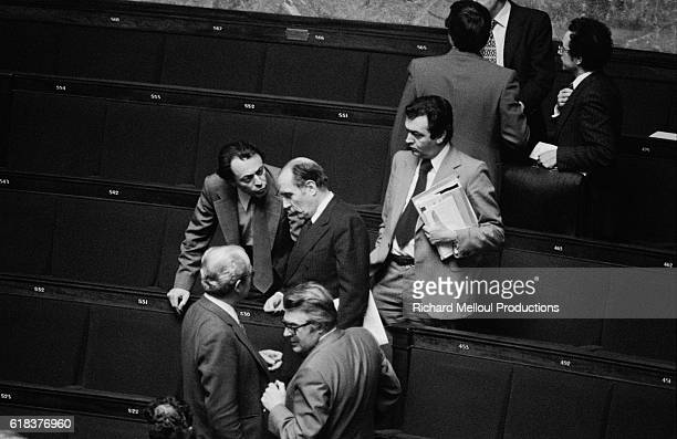Parti Socialiste leader Francois Mitterrand Michel Rocard National Secretary of the Parti Socialiste and Pierre Mauroy attend the opening of the new...