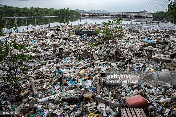 Partial vew of the Cunha canal that flows into the highly polluted Guanabara Bay in Rio de Janeiro Brazil on March 10 2015 The Olympic 2016 sailing...