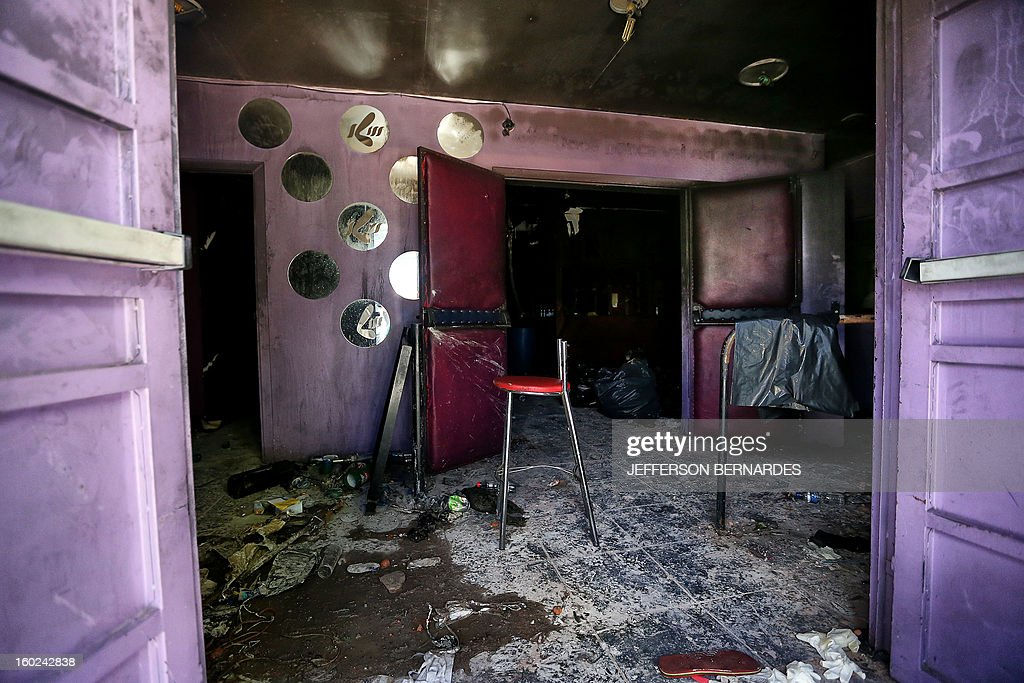 Partial view at the entrance to the Kiss nightclub where a blaze on the eve killed more than 230 people, on January 28, 2013 in Santa Maria, southern Brazil. Brazilian police arrested four suspects --two of the Kiss club's owners, along with a pair of musicians who starred in the ill-fated pyrotechnic show, in the wake of the nightclub fire that forced sports officials to defend preparations for the World Cup and Olympics. AFP PHOTO / JEFFERSON BERNARDES