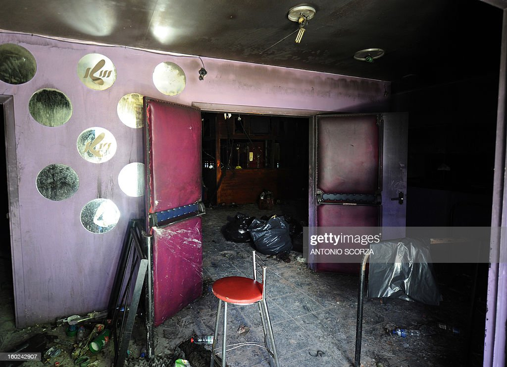 Partial view at the entrance to the Kiss nightclub where a blaze on the eve killed more than 230 people, on January 28, 2013 in Santa Maria, southern Brazil. Brazilian police arrested four suspects --two of the Kiss club's owners, along with a pair of musicians who starred in the ill-fated pyrotechnic show, in the wake of the nightclub fire that forced sports officials to defend preparations for the World Cup and Olympics. AFP PHOTO ANTONIO