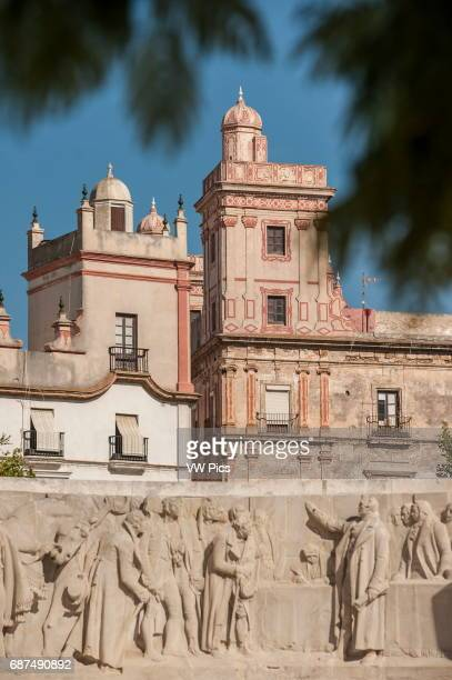 Partial view of 2 distinguished 18th century buildings namely the casa de las cinco torres and the casa de las cuatro torres which are located on the...