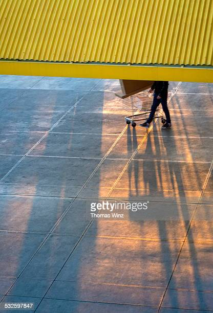 Partial view of a person with shopping cart